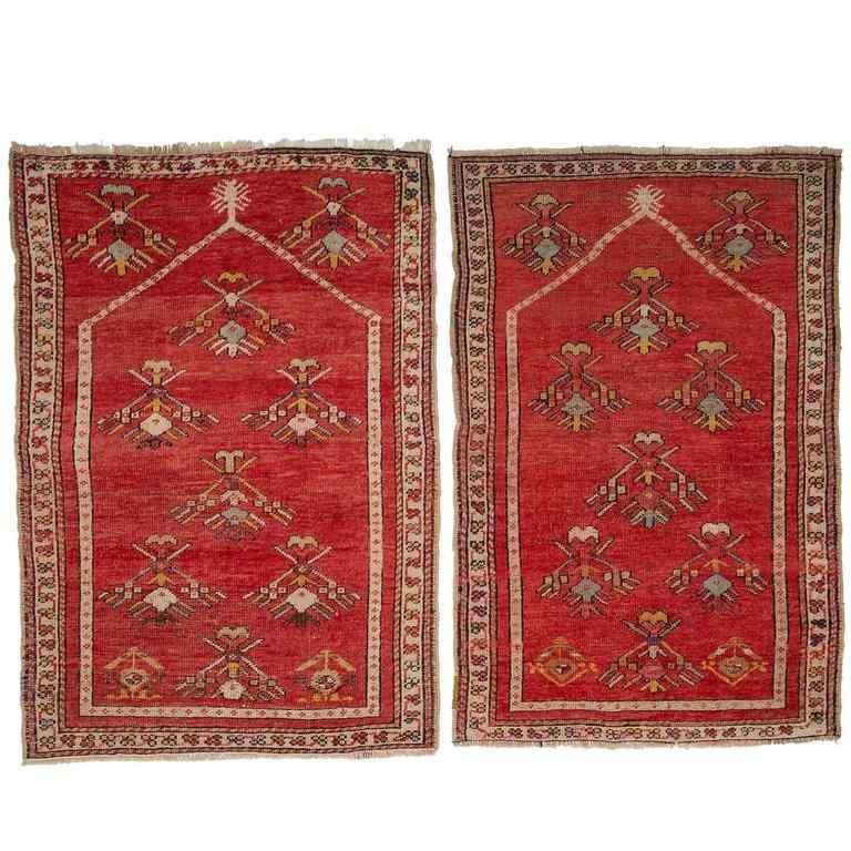 Pair of Antique Kirshehir Prayer Little Carpets