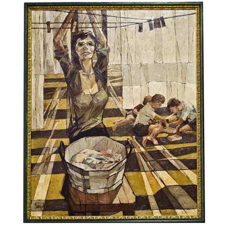 Italian vintage Painting , oil on canvas,