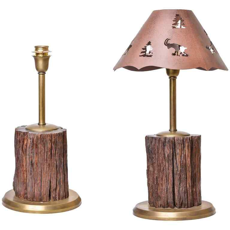 Fossil Wood Table Lamps for Mountain Home